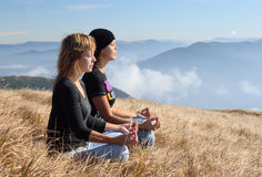 Girls meditation Royalty Free Stock Image