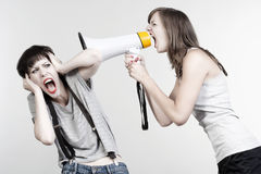 Girls with a megaphone Stock Photography