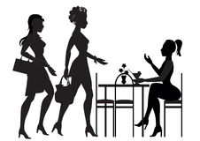 Girls met in a cafe Royalty Free Stock Image
