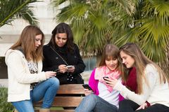 Girls mobile Royalty Free Stock Image