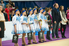Girls modelo na cerimônia de entrega dos prêmios Imagem de Stock