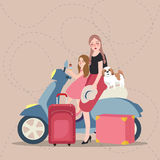 Girls mom and kids riding scooter bring bag tourist. Vector Stock Image