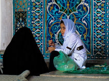 Girls in the Mosque. Mother and daughter gathered in a Mosque, Iran Stock Photography