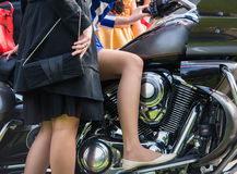 Girls on motorbikes Royalty Free Stock Images