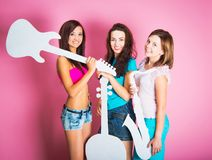 Girls with musical instruments Royalty Free Stock Images