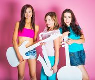 Girls with musical instruments Royalty Free Stock Photo