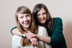 2 girls: She is my best friend who I can trust Royalty Free Stock Image