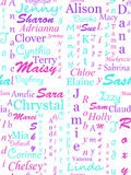 Girls names in various scripts - repeating pattern Stock Image