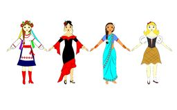 Girls in national costumes Royalty Free Stock Images