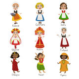 Girls In National Costumes Set Royalty Free Stock Photography