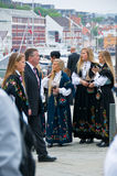 The girls in national dresses in Stavanger. The girls in national dresses on the streets at norwegian constitution day in Stavanger stock photography