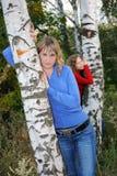 Girls Near Birches Royalty Free Stock Image