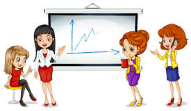 Girls near the bulletin board. Illustration of the girls near the bulletin board on a white background Royalty Free Stock Photo