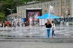 Girls near the fountain, football fan zone UEFA EURO 2016 Stock Photo