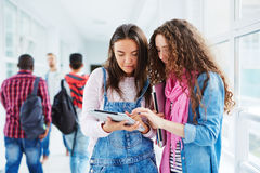 Girls networking Stock Photo