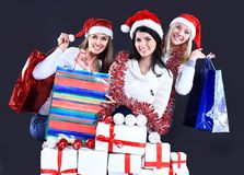 Girls with a new year gift Royalty Free Stock Images