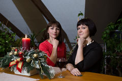 Girls in New Year night. Royalty Free Stock Image