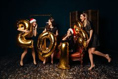 Girls at New year party Royalty Free Stock Image