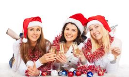 Girls on the New Year's Eve champagne Royalty Free Stock Photography