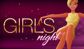 Girls night banner. Beautiful glamorous young woman sitting in night club lounge. Vector illustration on dark background. Girls night banner. Beautiful glamorous Stock Photos