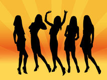 Girls in night club. Ladies party in orange club lights Royalty Free Stock Image
