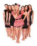 Girls' night out. A portrait of seven girlfriends celebrating bachelorette party over white background Royalty Free Stock Photography