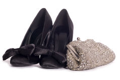 Girls night out. High heel shoes and clutch bag studio cutout Stock Photos