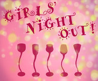 Girls' night out background. Girls night out fun type with light filled background and row of cocktail glasses all in pink shades with golde lights Stock Photo