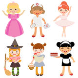 Girls occupations. A cute set of girls occupations Stock Photo