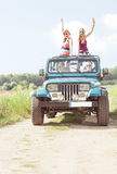 Girls in off-road vehicle Royalty Free Stock Images