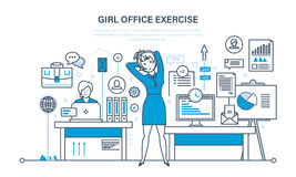 Girls in office do exercises, for rest and recovery. Royalty Free Stock Image