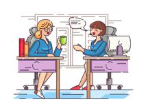 Girls office workers communicate in workplace Stock Photo