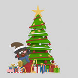 Girls opening gifts in front of Xmas tree.3D. NnCustom 3d illustration, contact me Royalty Free Stock Image