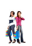 Girls out shopping Stock Images