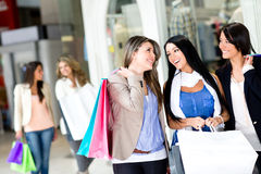 Girls out shopping Stock Photo