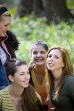 Girls outdoors. A view of a group of young women, enjoying being together for a friendly time outdoors Stock Photo