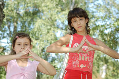 Girls outdoors Royalty Free Stock Photo