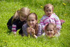 Girls outdoors Stock Images