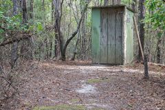 Girls Outhouse In The Forest. Royalty Free Stock Photo