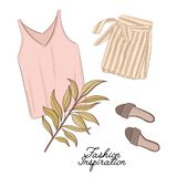 Girls outlook: shorts, shoes and top in pastel colors, decorated with palm leave. Trendy fashion illustration. Magazine article fl. Atlay print of modern apparel stock illustration