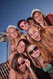 Girls Outside Making Faces. Mixed group of young girls outside making faces Stock Photos