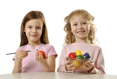 Girls painting Easter eggs Royalty Free Stock Photo
