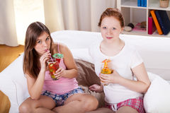 Girls pajama party Stock Images