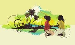 Girls,palm trees on a beach Stock Photo