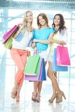 Girls with paperbags Royalty Free Stock Photos