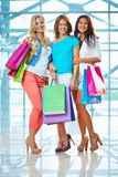 Girls with paperbags Royalty Free Stock Image