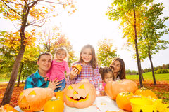 Girls with parents get ready for Halloween Stock Photos