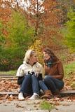 Girls in park stock photo