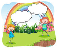 Girls in the park with bubble speech Stock Images