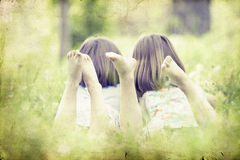 Girls in the park-vintage photo Royalty Free Stock Photography